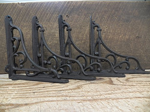 Lot/Set of 4 Antique-Style RUSTIC BROWN Cast Iron 7
