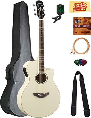 Yamaha APX600 Thin Body Acoustic-Electric Guitar – Vintage White Bundle with Gig Bag, Tuner, Strings, Strap, Picks, Austin Bazaar Instructional DVD, and Polishing Cloth