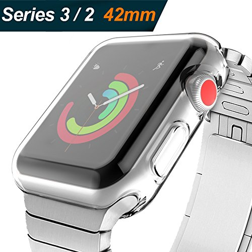 (2 Pack) Zeasine Compatible with Apple Watch Case 42mm Series 3/2, Compatible with Apple Watch Screen Protector, Compatible with iWatch Case