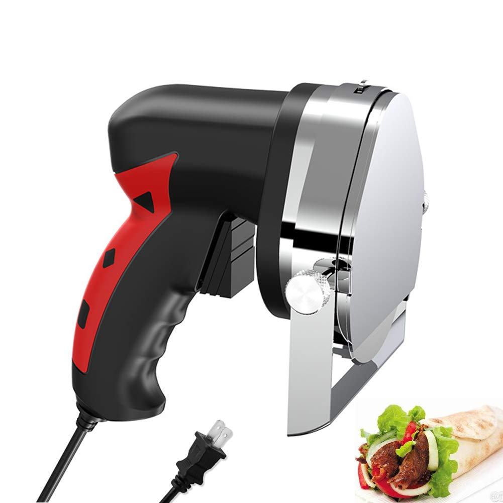 Turkish Gyro Round Electric Shawarma Shaver Knife Portable Gyroknife Small Chawerma Doner Cutter Handheld Kebab Knife Professional Meat Slicer Machine, 0~8mm Meat Thickness Adjustable (Red) by Rbaysale (Image #1)