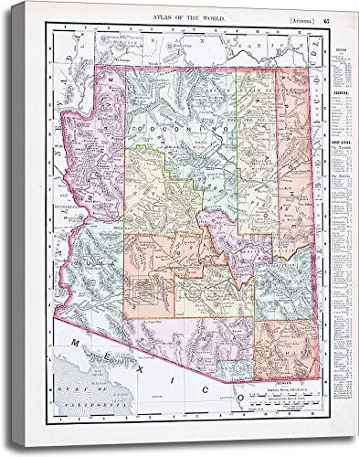 アンティークヴィンテージカラーマップのアリゾナ州、USAギャラリーWrappedキャンバスアート 40in. x 30in. B075WR1YQS  40in. x 30in.