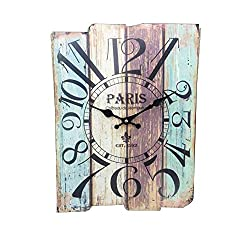 w5bhj88 Vintage Arabic/Roman Numerals Rustic Wall Clock, Distressed Wooden Decorative Wall Clock, Shabby Chic and DIY Home Decor Accents for The Kitchen Living Room and Bedroom(Type 2)