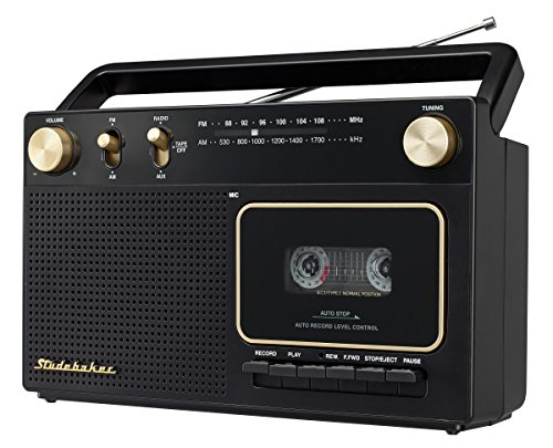 Retro Home Audio Stereo AM/FM Radio & Cassette Player/Recorder with Aux Input Jack & Built in Speakers (Limited Edition) ()