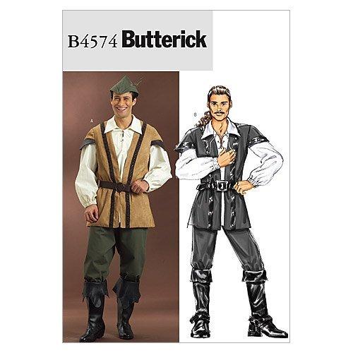 Butterick B4574 Men's Medieval Outlaw Renaissance Fair Costume Sewing Pattern, Sizes XL-XXXL