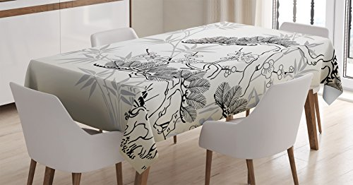 Ambesonne Japanese Decor Tablecloth, Asian Style Bamboo Birch and Flower Twiggy Petals Pine Silhouettes Floral Pattern Art, Rectangular Table Cover for Dining Room Kitchen, 52x70 Inches, Ecru Black