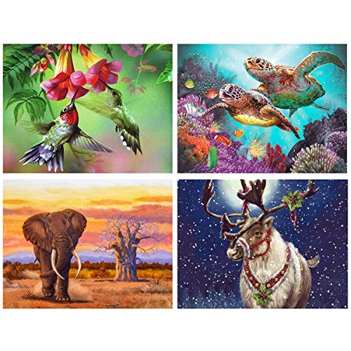 (4 Pack 5D Diamond Painting Four Seasons Animals Full Drill by Number Kits for Adults Kids, DIY Rhinestone Craft Bird Turtles Elephant Deer Paint with Diamonds Set Arts Xmas Decorations (12x16inch))