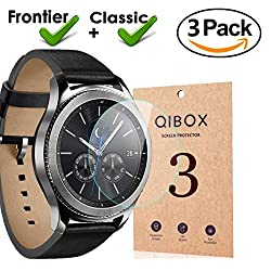 Samsung Gear S3 Screen Protector (3 Packs), Qibox Edge-to-edge Tempered Glass Screen Protector For Samsung Gear S3 Classic Gear S3 Frontier, Waterproof 9h Hardness Ultra Clear & Anti-bubble
