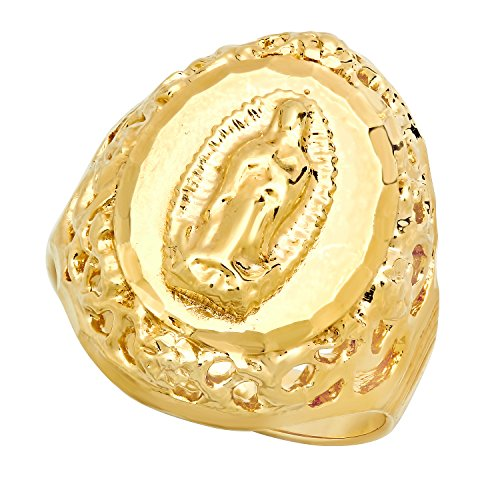 [14mm Gold Plated Virgin Mary Framed w/Filigree Oval Ring, Size 10] (Girls Virgin Mary Costume)
