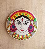 V Living Indian Goddess Durga, Embroidery Hoop, Linen with Bright Colours Wall Art (Multicolour, 10 Inches)