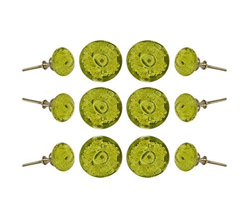 Set of 12 Glass Jones Bead Olive Green with Silver Chrome Finish Hardware Cabinet Knobs Kitchen Cupboard Dresser Drawer Door Knob Pull by Trinca-Ferro