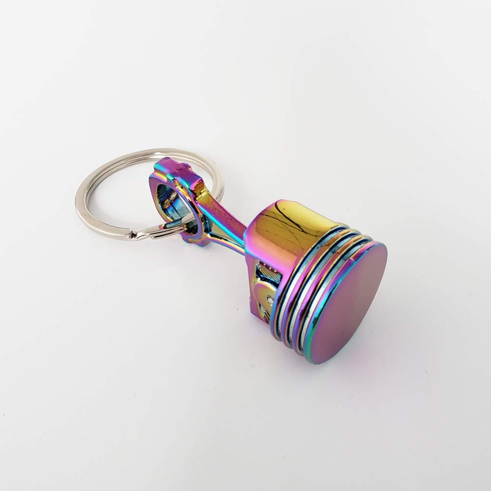 Ispeedytech Creative New Charming auto Part Rainbow Engine Piston Connecting Rod Metal Pendant Alloy Keychain Key Chain Ring Keyring Keyfob Colorful