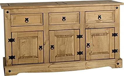 Xpress Delivery Corona 3 Door 3 Drawer Sideboard In Distressed Waxed