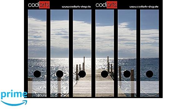 codiarts Set 6 Unidades Carpeta de Etiquetas Autoadhesivas (Lomo de archivadores Adhesivos) Puente en el mar: Amazon.es: Hogar