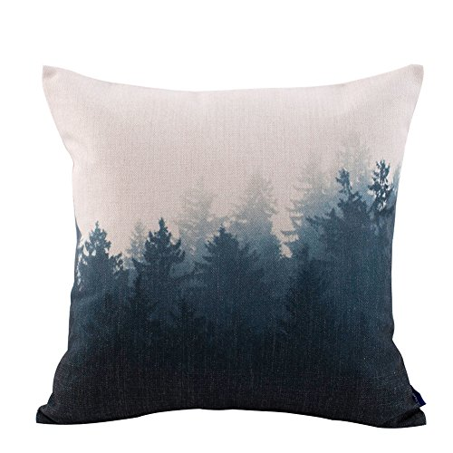 Scandinavian Cotton Forest-Themed Cushion Cover