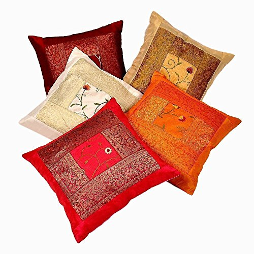 Radhy Krishna Fashions Indian Ethnic Hand Embroidery Decorative Silk Pillow Cushion Cover Set of 5 Pcs Size 16 X 16 Inches ()