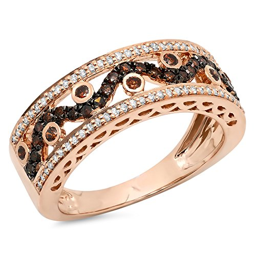 Dazzlingrock Collection 0.65 Carat (ctw) 14K Rose Gold Round Champagne & White Diamond Anniversary Wedding Band (Size ()