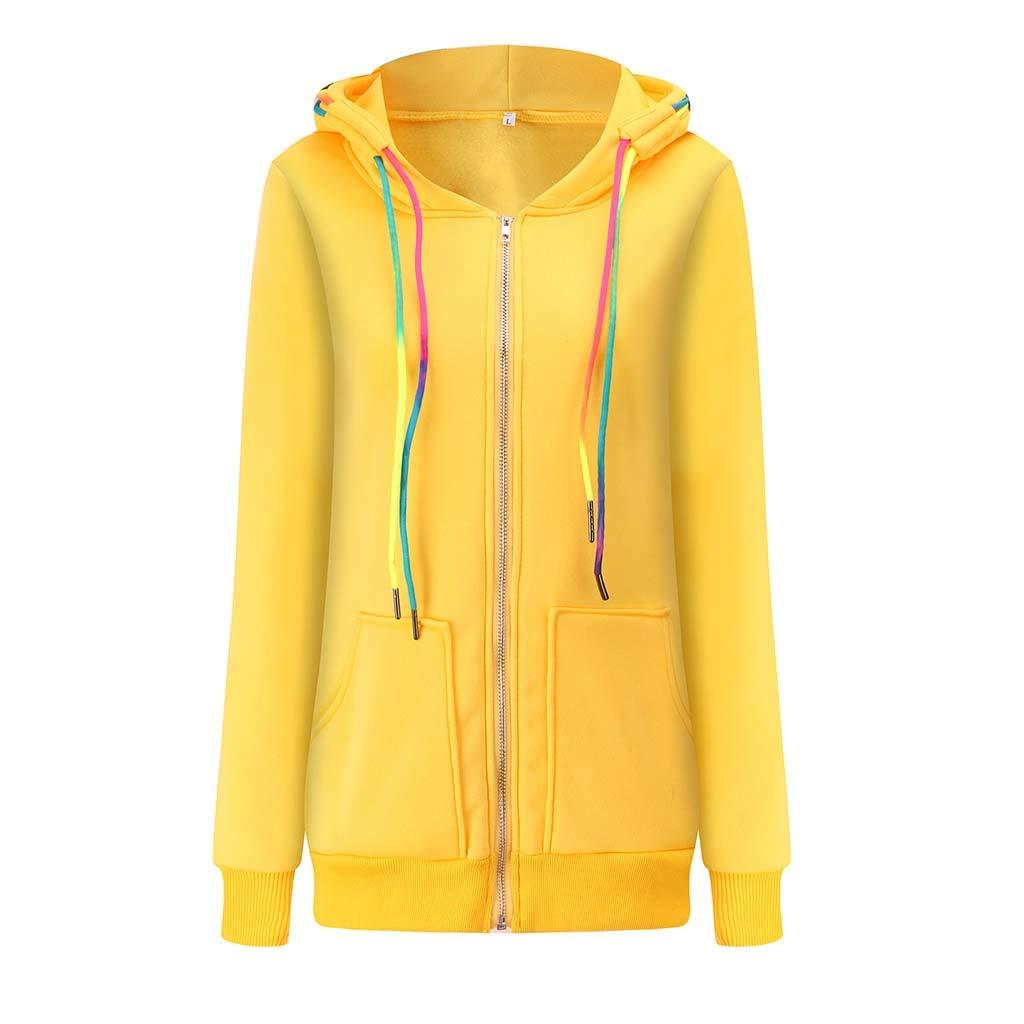 Alangbudu Women Zipper Hoodie Gradient Drawstring Tops Pullover Long Sleeve Sweatshirt Sportwear Blouse with Pockets