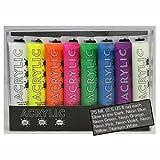 neon colour paints - Hyatt's Acrylic Paint, 8 Neon Color Set, 75 Milliliter Tubes