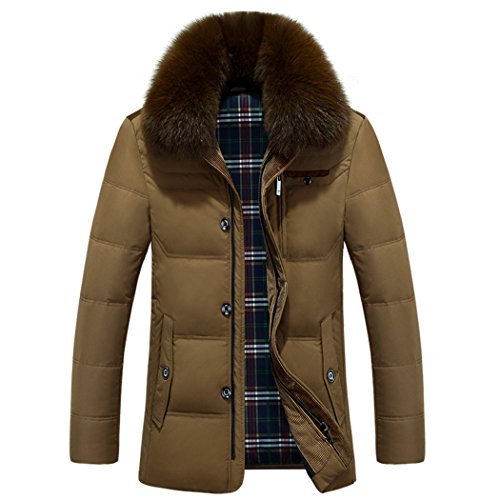jacket 170 In fur warm the yellow winter the in old men's HHY thick long collar 76wqF6Z