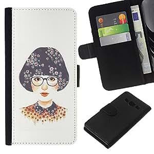 Stuss Case / Funda Carcasa PU de Cuero - Chica Gafas Blanca Nerd - Samsung Galaxy A3