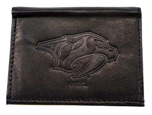 (NHL Nashville Predators Tri-Fold Leather Wallet, Black)