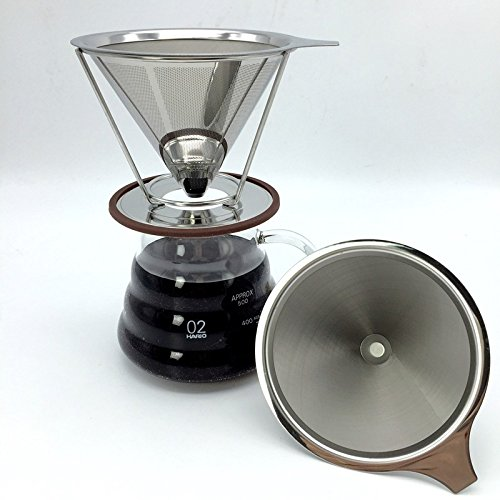 Reusable V-type Cup Cone Coffee Filters SENREAL Portable Coffee Maker Dripper Stainless Steel Coffee Parts