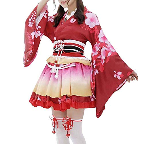 HongH Sexy Japanese Kimono Costume Floral Print Skirt Girls Lolita Outfit Yukata Halloween Costumes Outfit (Red Flower)]()