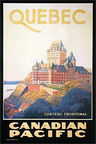 (Quebec Chateau Frontenac Closeup Vintage Travel Art Print Poster 12x18 inch)