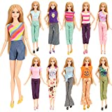 Barwa 5 Sets Doll Clothes Handmade Blouse with Trousers Pants for Barbie Doll Xmas Gift