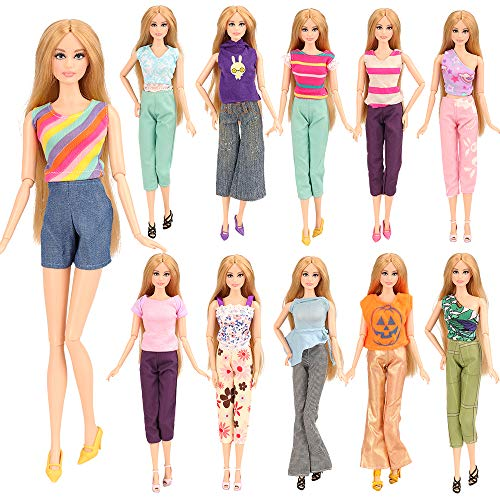 - BARWA 5 Sets Handmade Blouse with Trousers Pants for 11.5 Inch Girl Doll Xmas Gift