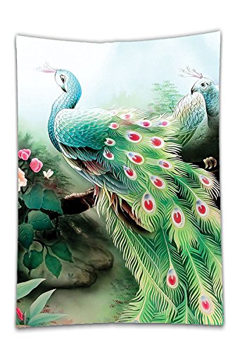 Interestlee Satin drill Tablecloth?Peacock Decor Peacock In Summer Flower Garden Glass Vibrant Color Painting Effect Nature Art Print Green Fuchsia Dining Room Kitchen Rectangular Table Cover Home Dec