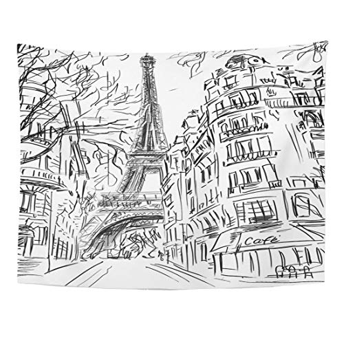 Maps Wall Cosmopolitan (Emvency Tapestry 80 x 60 Inches Map Street in Paris Architecture Built City Cityscape Construction Cosmopolitan District Wall Hanging Art Home Decor Tapestries for Bedroom Dorm Living Room)