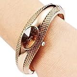 Gorgeous Women's Girl's Golden Bracelet Bangle Crystal Wrist Watch