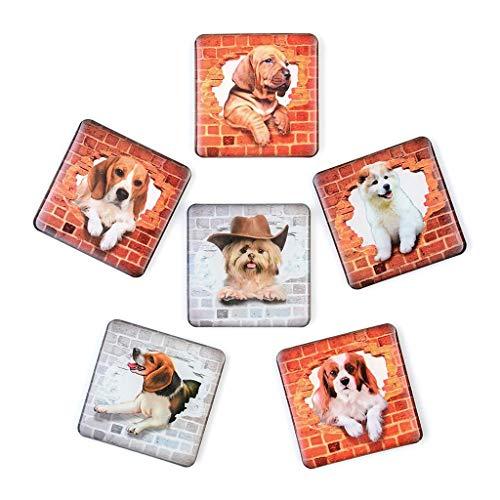 Yliquor 6PCS Refrigerator Sticker, 3D Dog Animals Fridge Magnets Suitable for Kitchen Locker Air Conditioning Decal Home Decor Exotic Art Wallpaper