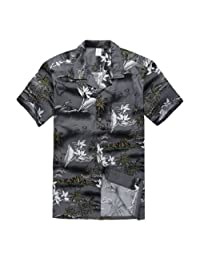Young Adult Boy Hawaiian Aloha Luau Shirt in Gray Map and Surfer