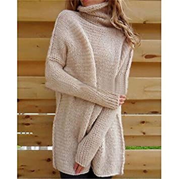 373bdfa35ad6 Image Unavailable. Womens Polo Neck Winter Ladies Tops Chunky Knitted  Oversized Sweater ...