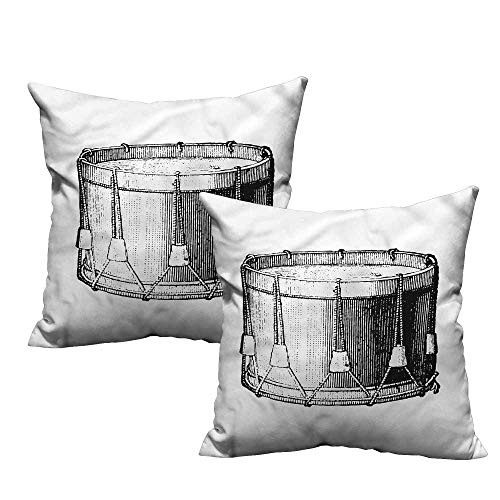 (ParadiseDecor Snare Drum,Square Pillowcase Vintage Style Art Melody 16