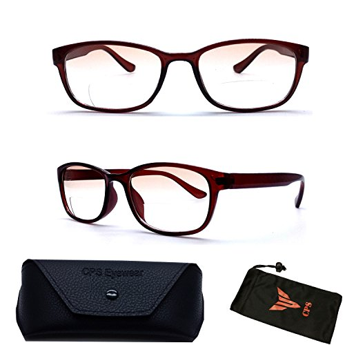 (#A2006 Brn) 1 Pair Clear Lenses Bifocal Mens Women Square Shape No Tint Sun Readers + Case (Strength: - Square Readers Gradient
