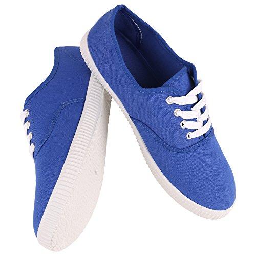 Stiefelparadies Damen Herren Unisex Sneaker Low Basic Flandell Blau Blue