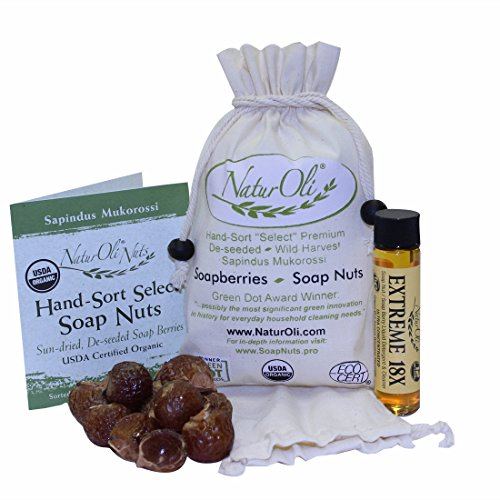 NaturOli Soap Nuts/Soap Berries - 4 oz (60 loads) USDA ORGANIC + 18X BONUS! (12 loads) Select Seedless, Wash Bag, 8pg info, Tote Bag. Organic Laundry Soap/Natural Cleaner! (Soap Eco 4 Ounce)