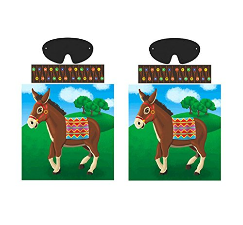 "Amscan Carnival Fair Fun Pin The Tail On The Donkey Game Party Activity, Multicolor, (2 Pack) 17"" X 17 1/4"""