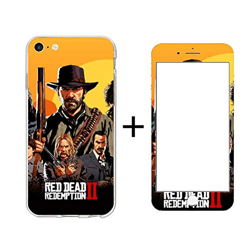 Original Red Dead Logo for iPhone 6p/6s Plus Case High Clarity Transparency Flexible Silicone Cover Full Screen Film Clear TPU Soft Slim for Apple Phone Case Steel ()