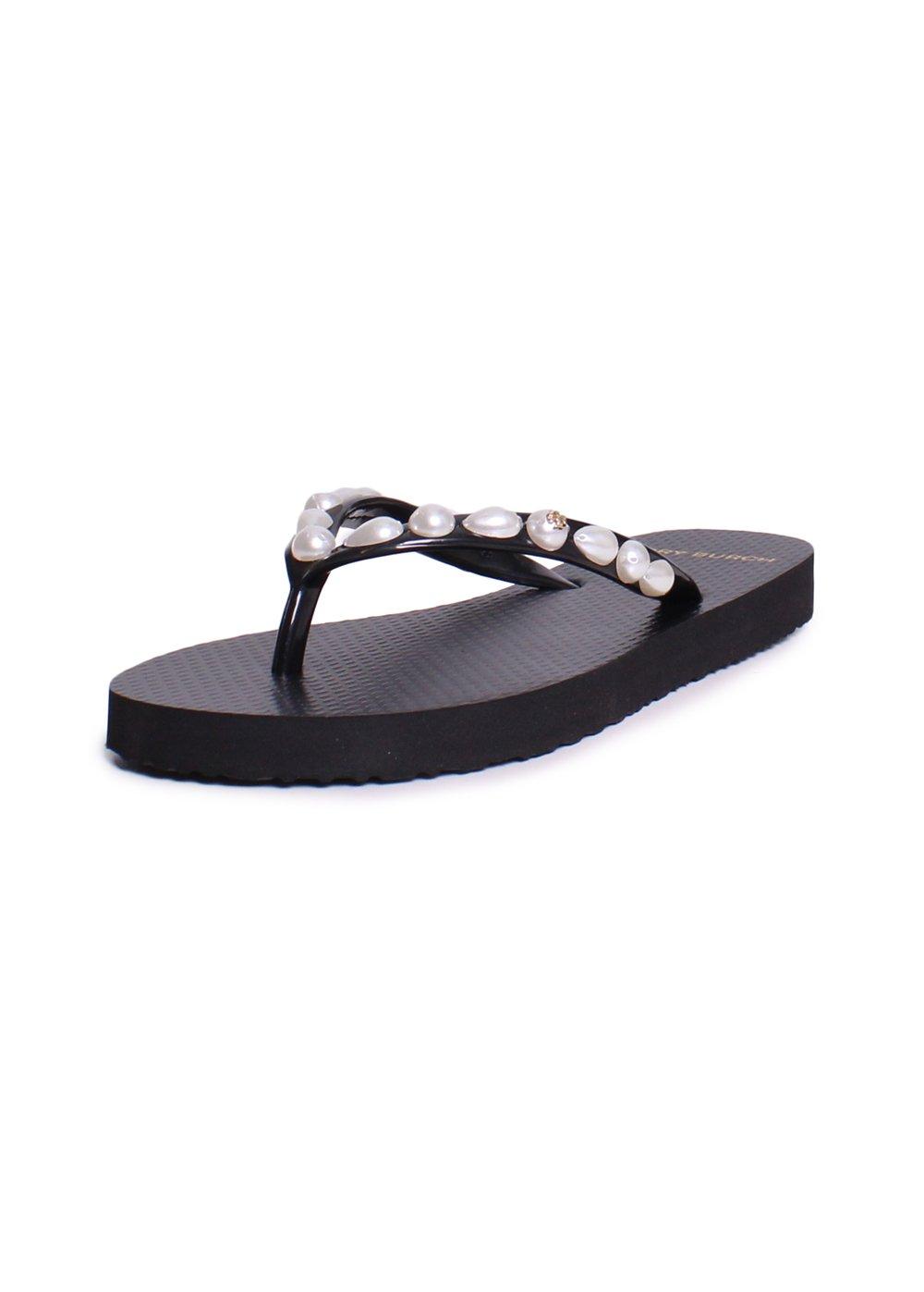 Tory Burch Flip Flops Shoes Sandals Flat Rubber (9, Pearl Black)