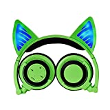 Eoncore Kids Stereo Wireless Bluetooth Headphones LED Glowing Cat Ear Foldable Over-ear Headsets Noise Reduction With Mic Volume Control (Green)