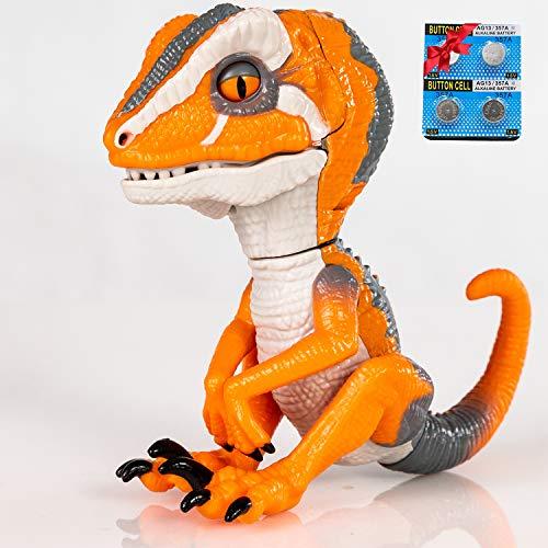 Finger Raptor,Dinosaur Velociraptor BURU,6MODE❤,Dinosaur toys,Electronic Interactive Dinosaur, with Auto-sleep function,Energy saving optimization upgrade. Children's gift choose☃(Orange/White)..