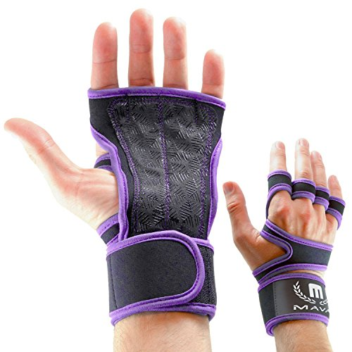 Cross Training Gloves with Wrist Support for Fitness, WOD, Weightlifting, Gym Workout & Powerlifting - Silicone Padding to avoid Calluses - Suits both Men & Women, Strong Grip (Purple, ()