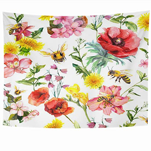 (Ahawoso Tapestry 80 x 60 Inches Vintage Pink Blossom Honey Bees Meadow Flowers Summer Grasses Hand Plants Pattern Watercolor Red Home Decor Wall Hanging Tapestries for Living Room Bedroom Dorm )