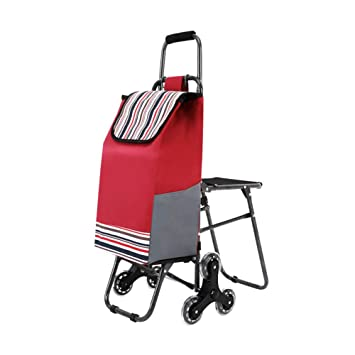moxin Carrito de la Compra Plegable, portátil con asa Plegable, portátil con Silla, Espacio más Grande con 6 Ruedas más Amplio Espacio para los Ancianos: ...
