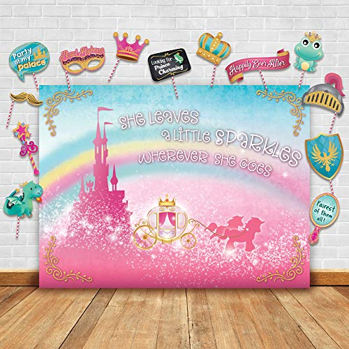 Sparkly Gold Royal Princess Theme Photography Backdrop and Studio Props DIY Kit. Great as Photo Booth Background Rainbow Pink Castle Birthday Party Supplies and Fairytale Baby Shower Decorations -