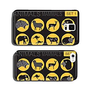 Animals mammals icon set. Vector flat style cell phone cover case iPhone6 Plus